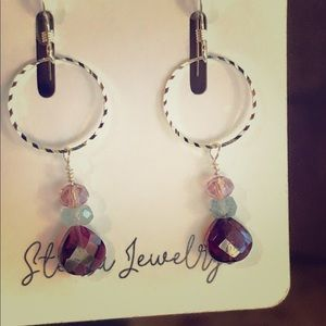Garnet, Aquamarine Earrings